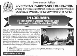 OPF Scholarship 2018 Children of Overseas Pakistanis Form Download