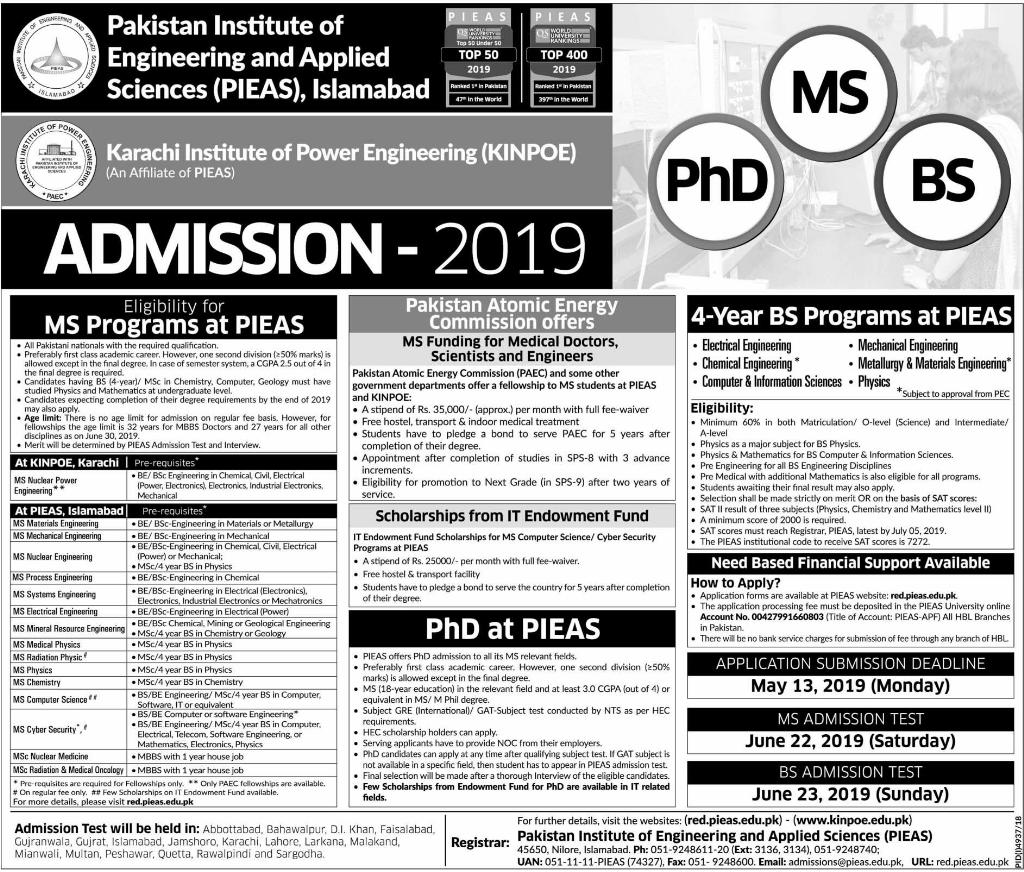 PIEAS BS, MS, PhD Admission 2019 Online Registration