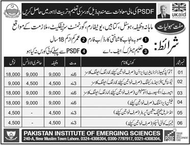 Pakistan Institute of Emerging Sciences Lahore Admission 2018