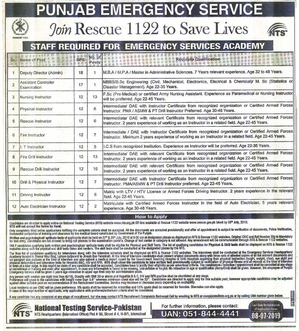 Rescue 1122 Jobs 2019 Punjab NTS Application Form Download Test Date