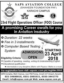 SAPS Aviation College Karachi Admission 2018 Fee Structure