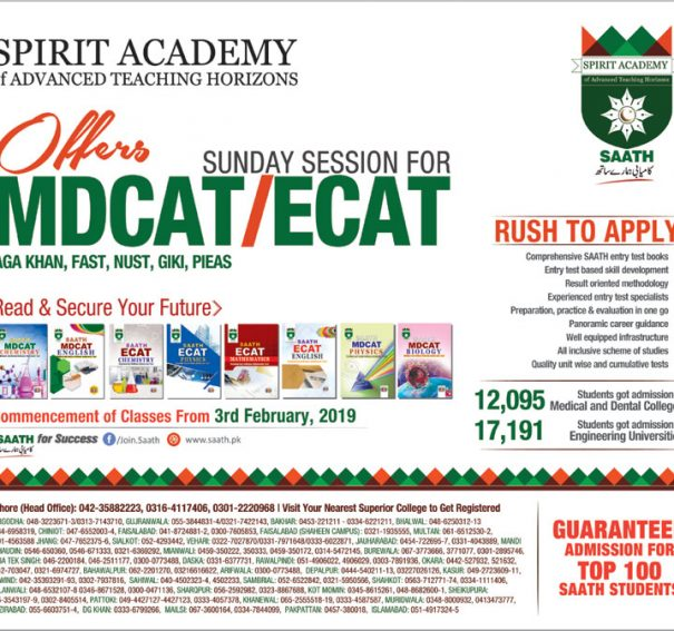 Spirit Academy MCAT, ECAT Entry Test Preparation 2019 Fee, Notes