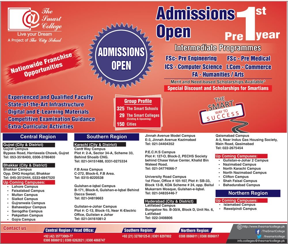 The Smart College Pre 1st Year Admission 2018 Form Fee Contact