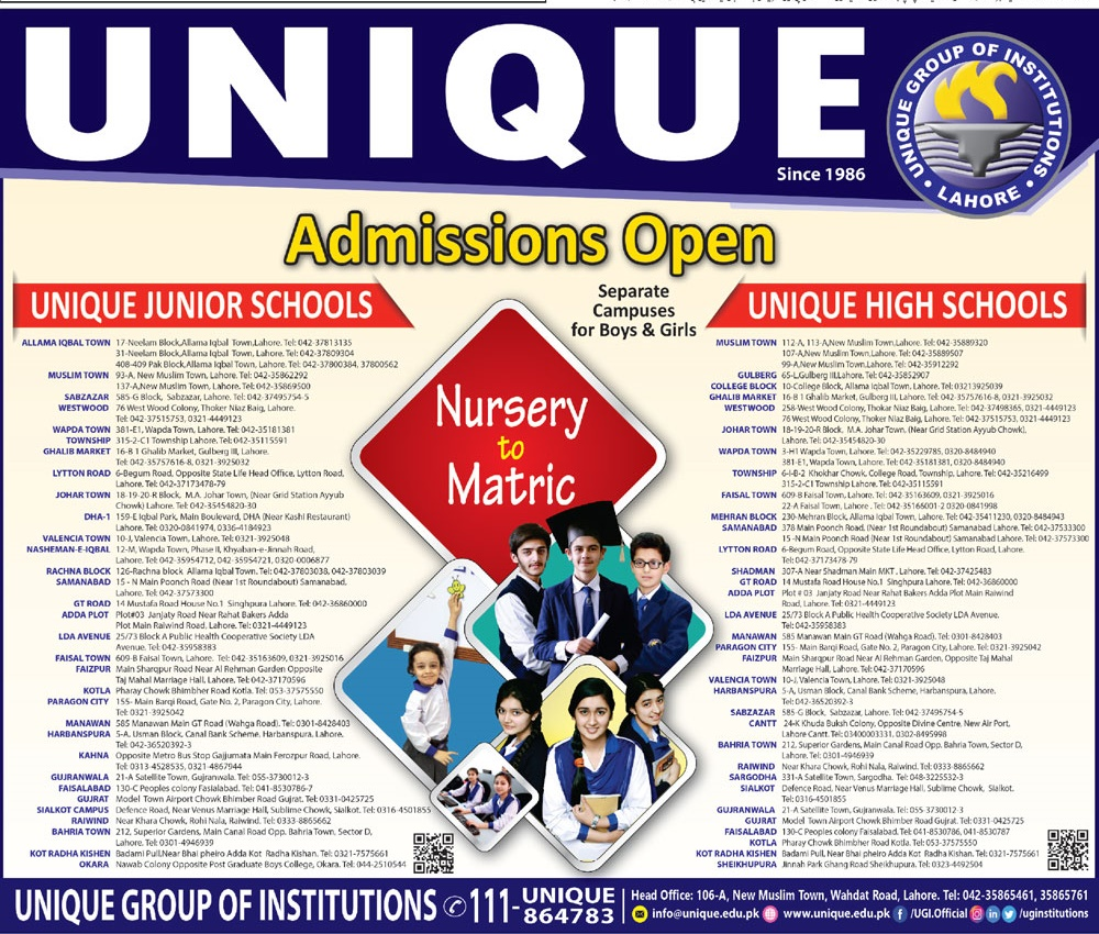 Unique Junior And High School Lahore Admission 2019 Contact Detail Fee Structure