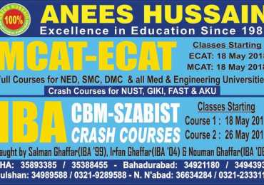 Anees Hussain Karachi Entry Test Preparation Admissions 2018