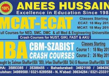 Anees Hussain Karachi Entry Test Preparation Admissions 2018