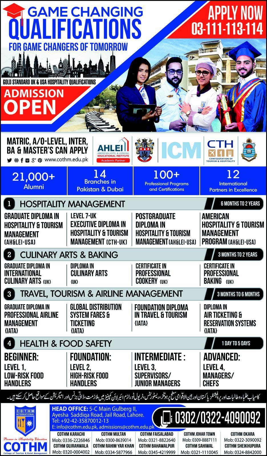 COTHM Admission 2019 Form Lahore Karachi Islamabad Multan Faisalabad