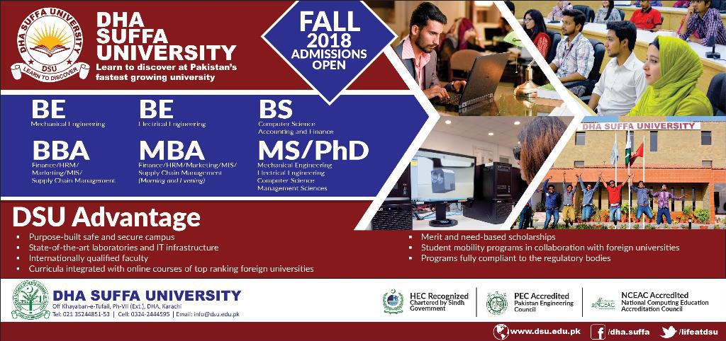 DHA Suffa University Karachi Admission 2018 Last Date