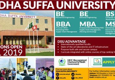 DHA Suffa University Karachi Admission 2019