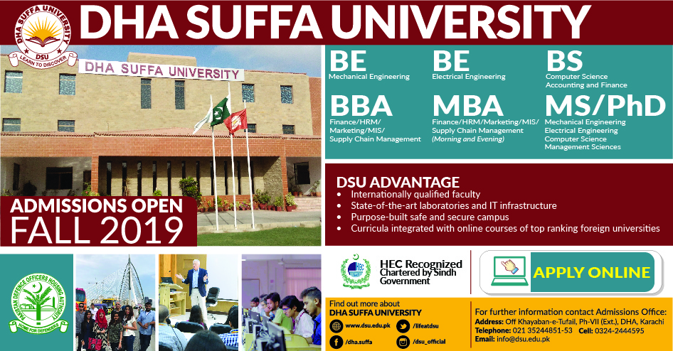 DHA Suffa University Karachi Admission 2019 Last Date