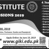 Ghulam Ishaq Khan Institute of Technology GIKI Admission 2019