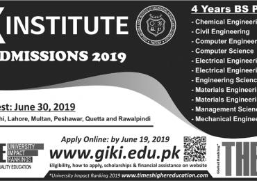 GIKI Undergraduate Admissions 2020 Form