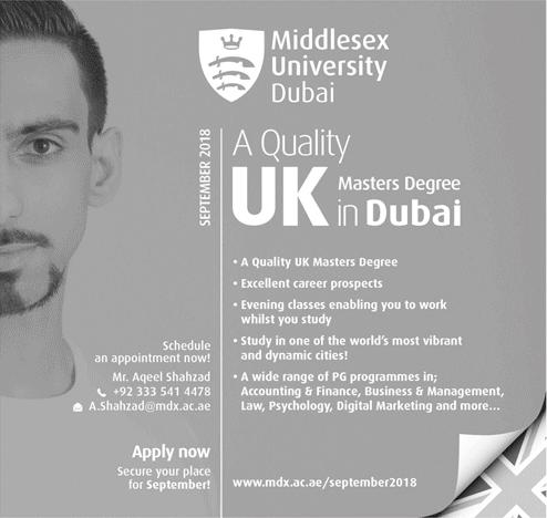 Middlesex University Dubai Admission 2018 Online Form Requirements