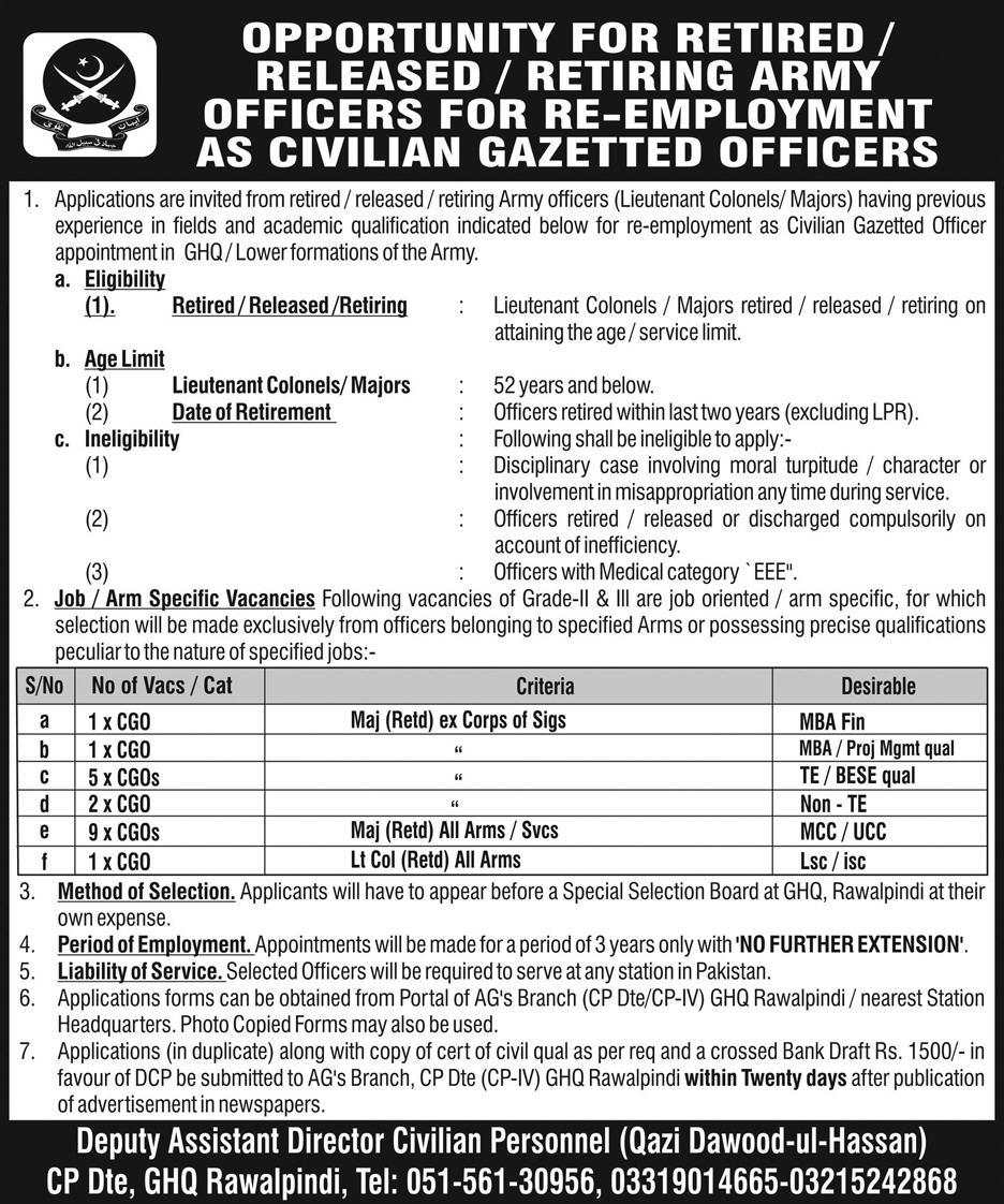 Retired Army Officer Jobs As A Civilian Gazetted Officer 2019Retired Army Officer Jobs As A Civilian Gazetted Officer 2019