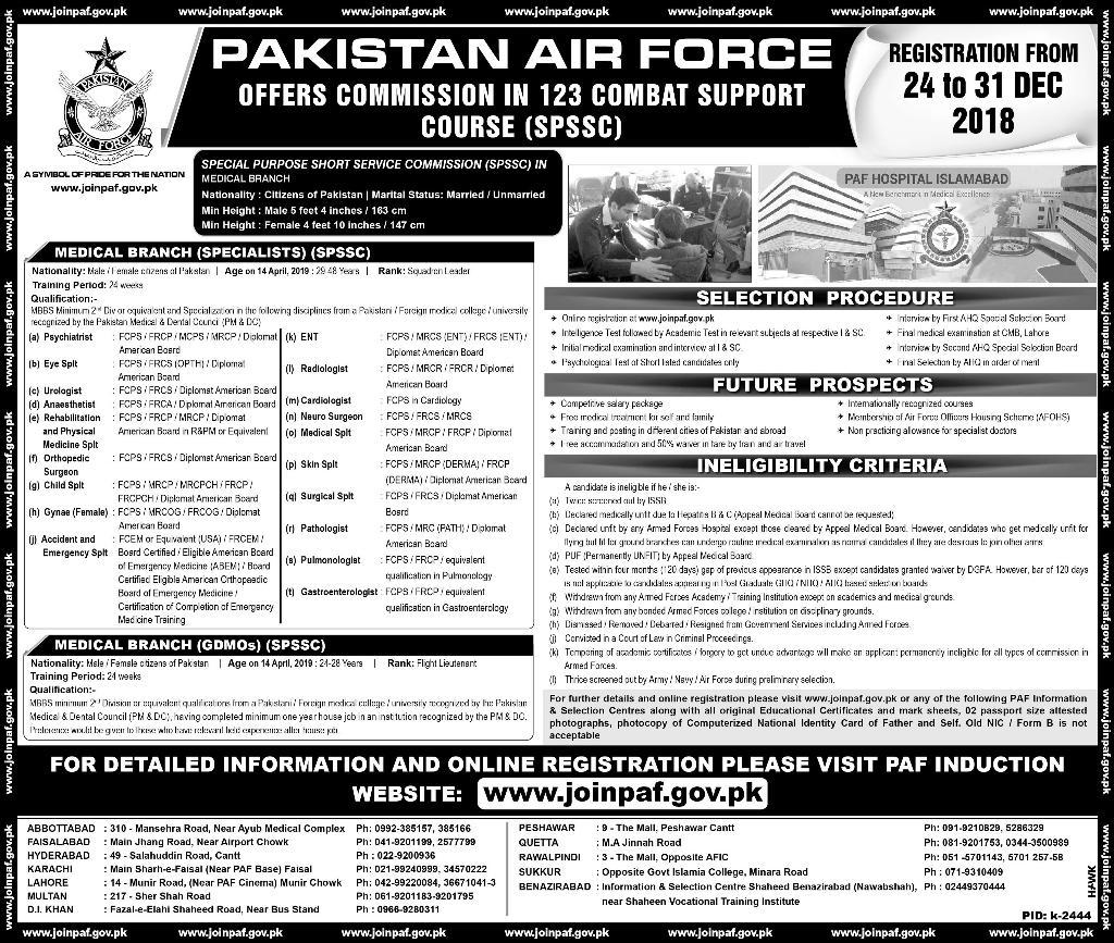 123 Combat Support Course Pakistan Air Force 2018 Online Registration