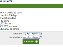 Age Calculator For CSS 2019