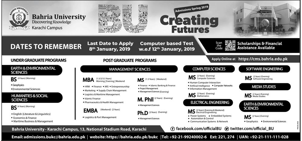 Bahria University Karachi MBA Admission 2019