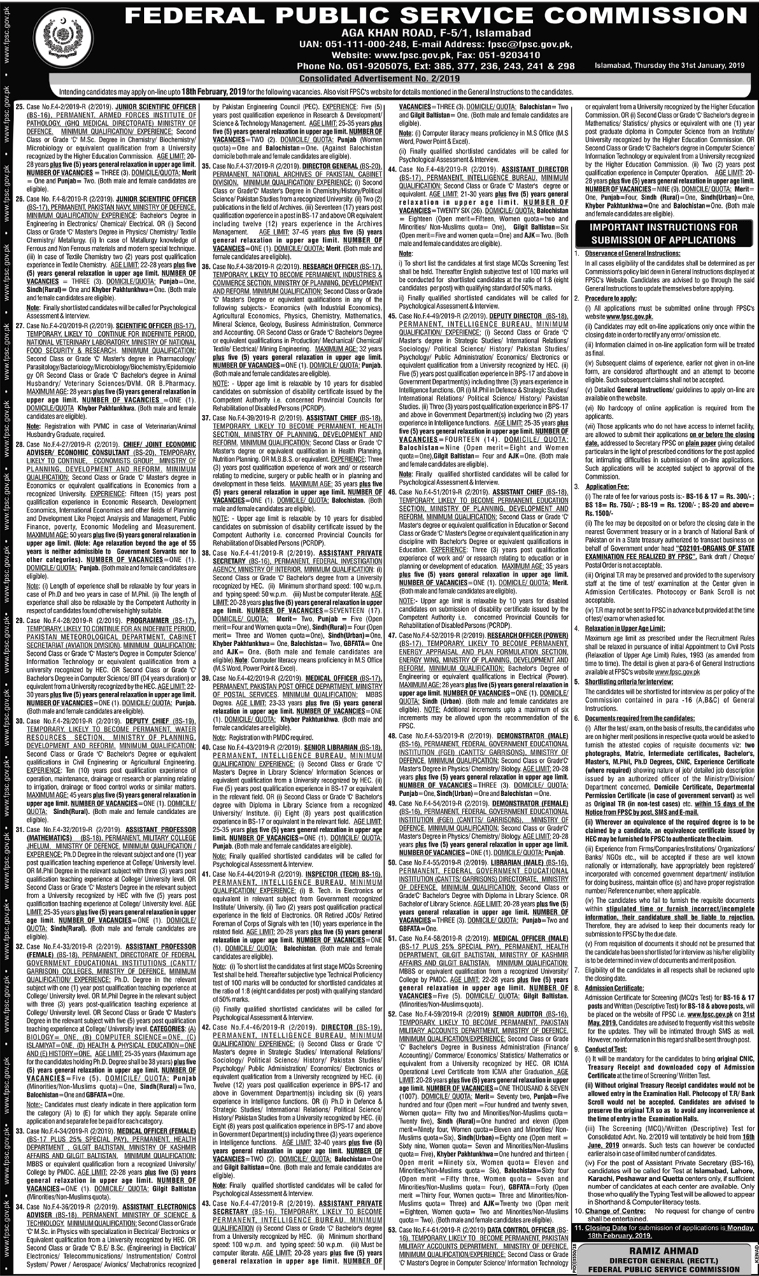 FPSC Jobs February 2019 Advertisement, Apply Online Last Date