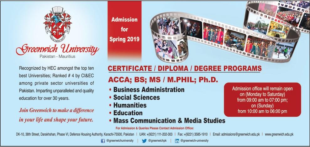 Greenwich University Karachi Spring Admissions 2019