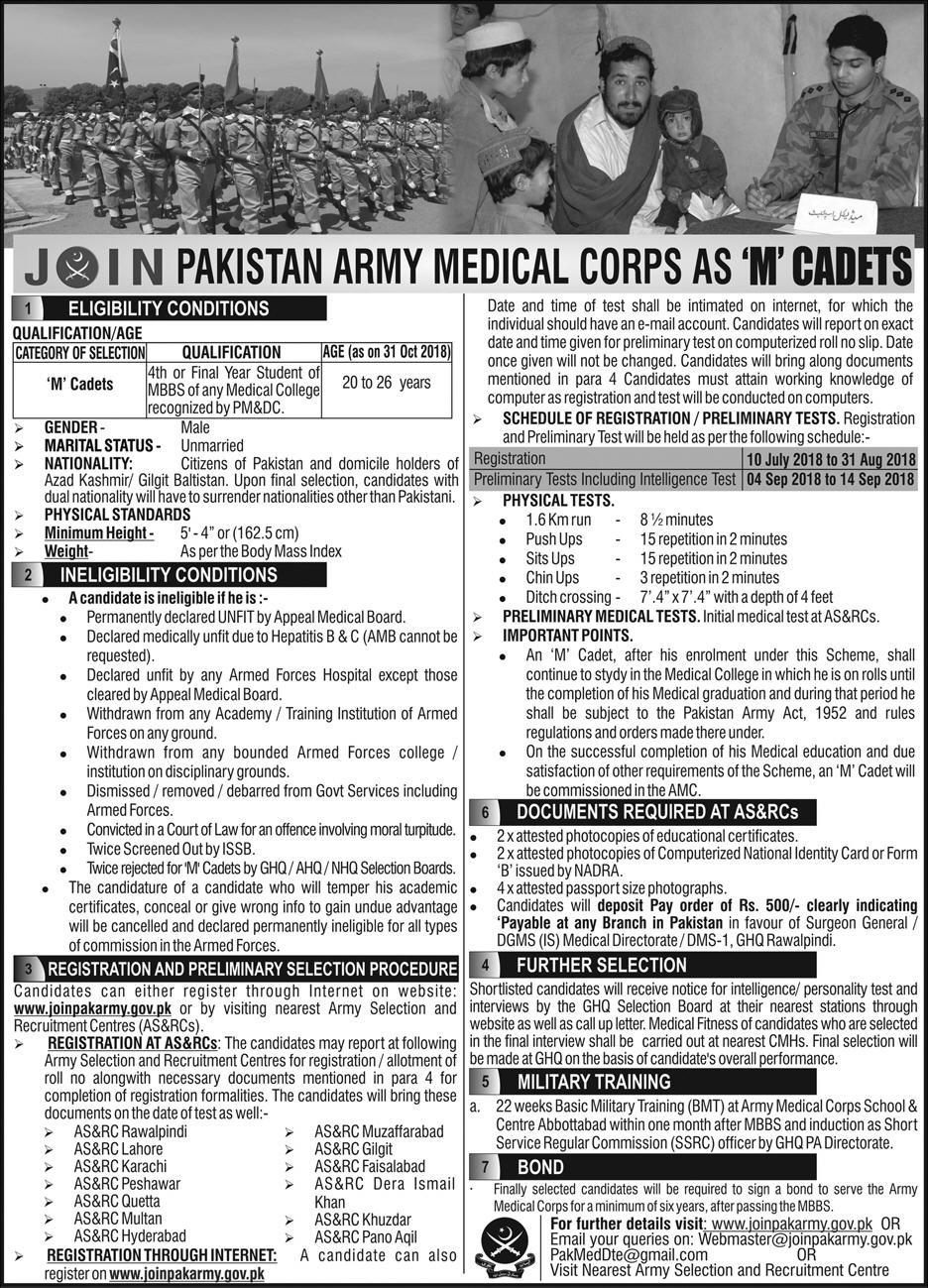 Join Pak Army As Medical Cadet 2018 Online Registration