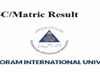 Karakoram International University KIU Matric Result 2019
