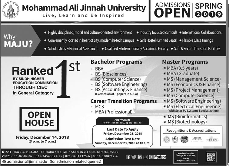 Mohammad Ali Jinnah University MAJU Karachi MBA Admission 2019