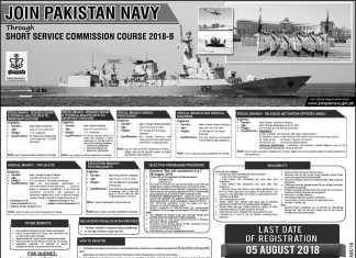 Pakistan Navy Jobs Through Short Service Commission Course SSCC 2018 B