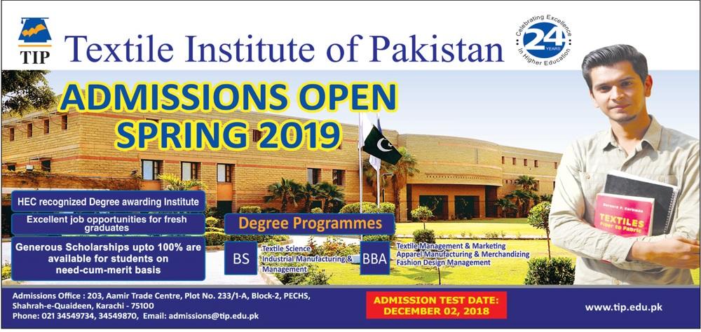 Textile Institute of Pakistan TIP Karachi Admissions 2019