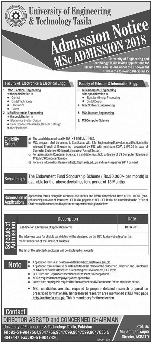 UET Taxila MSc Admissions 2018 Advertisement, Test Result Date