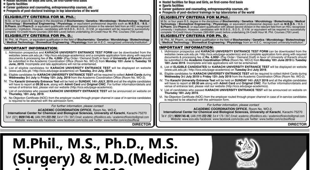 University of Karachi UOK MS, MPhil, PhD Admission 2019