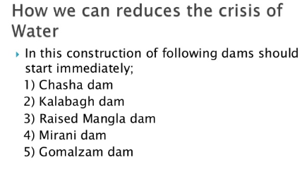 Water Crisis In Pakistan Solutions