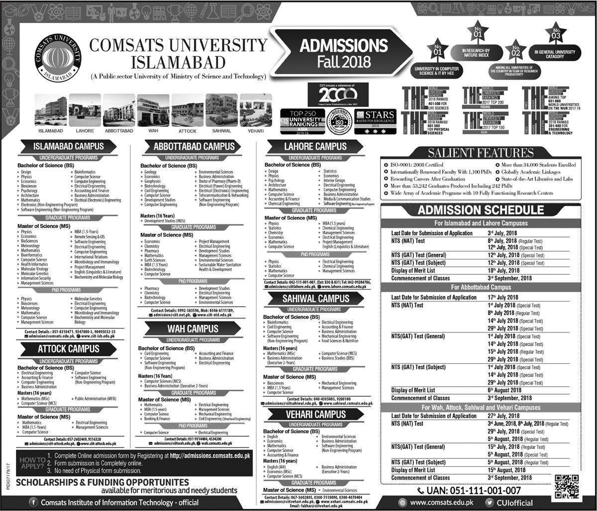COMSATS Islamabad Admission 2018 Last Date, Advertisement