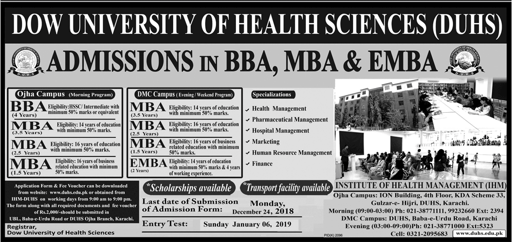 Dow University BBA, MBA Admission 2019