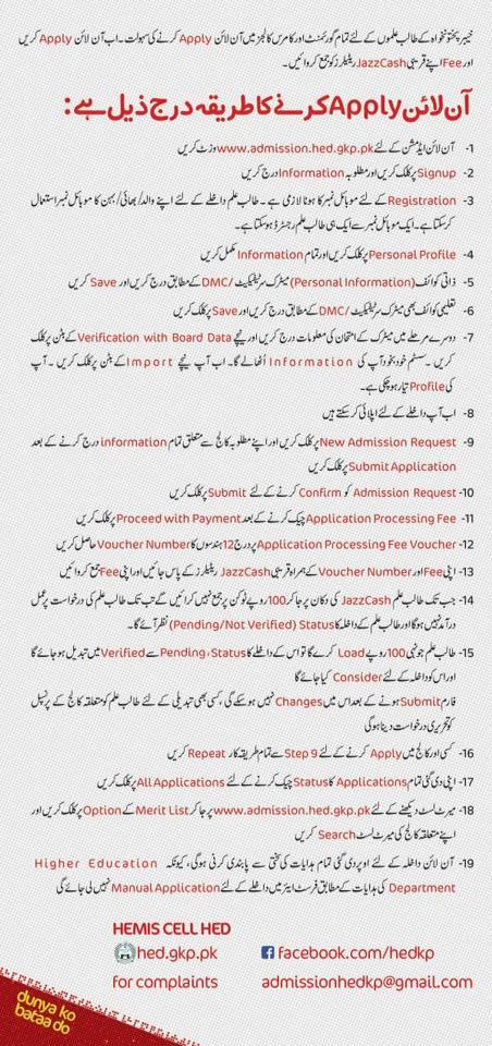Government College Peshawar Online Admission 2018