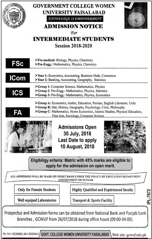 Government College Women University Faisalabad GCWUF Admission 2018 Form
