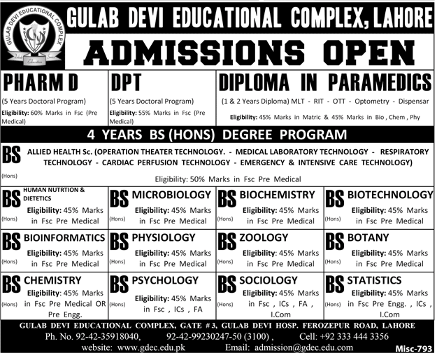 Gulab Devi Medical Institute BSc Admission 2018 Form