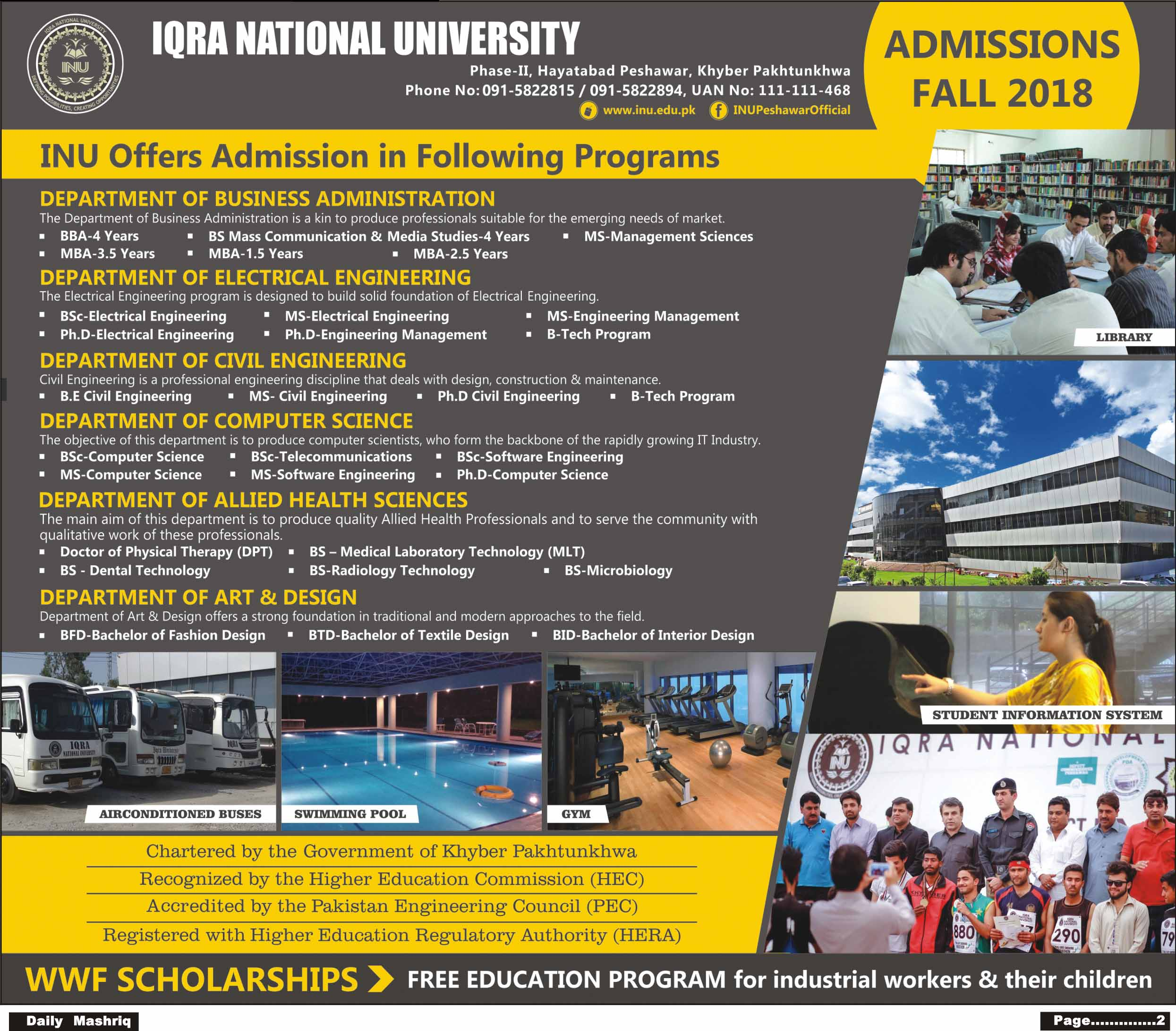 Iqra National University Peshawar Admission 2018