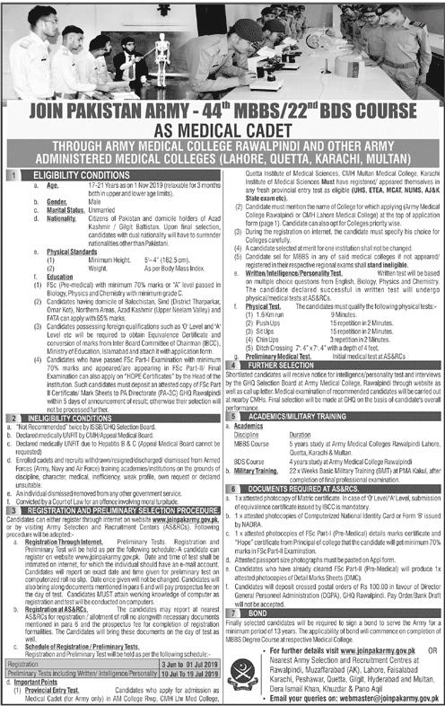 Join Pak Army As Medical Cadet 2019 Online Registration