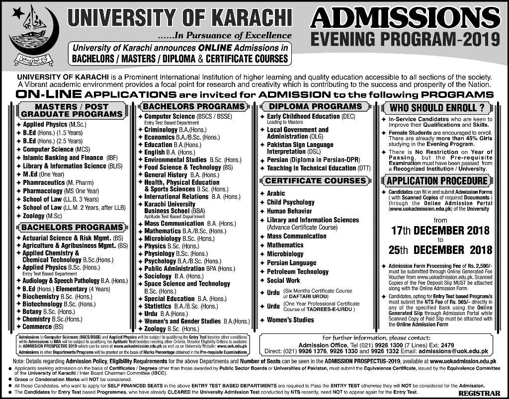 Karachi University Evening Admission 2019