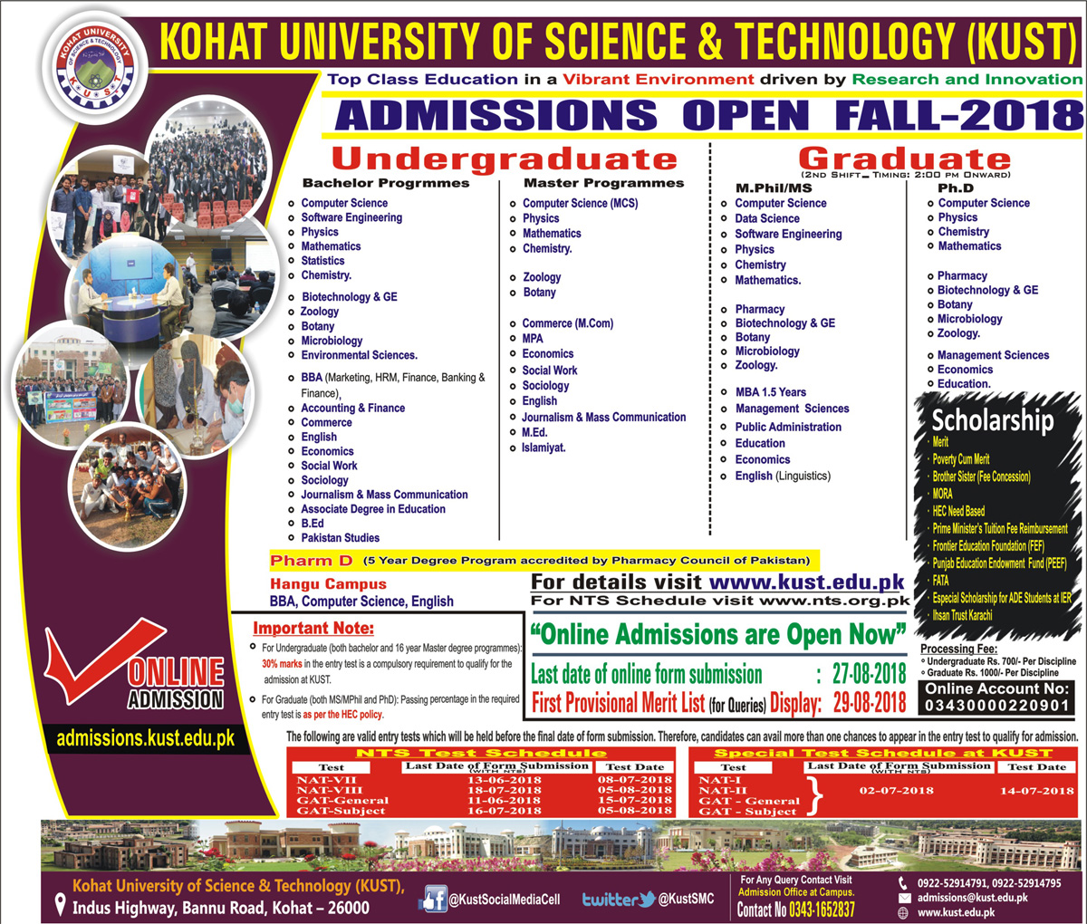 Kohat University Of Science And Technology KUST Admission Fall 2018
