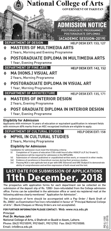 National College Of Arts Admission 2019