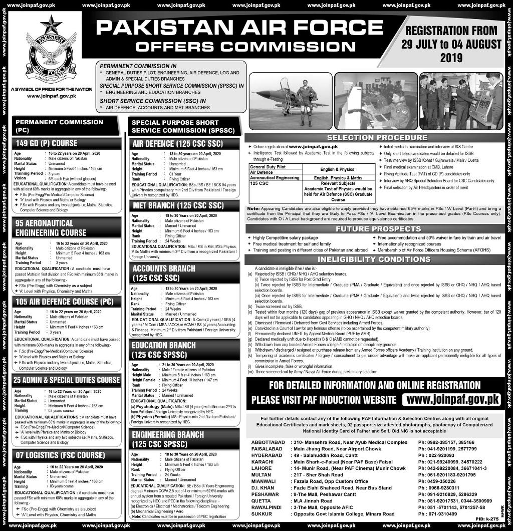 PAF Commission Jobs 2019 Advertisement Apply Online Registration