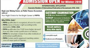 PIPFA Admission 2019 Winter Session Form, Last Date