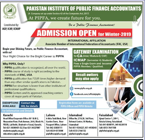 PIPFA Admission 2019 Winter Session Form, Last Date