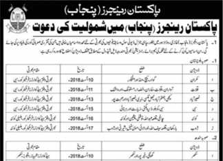 Pakistan Rangers Punjab Jobs 2018 Soldiers Registration Application Form Date