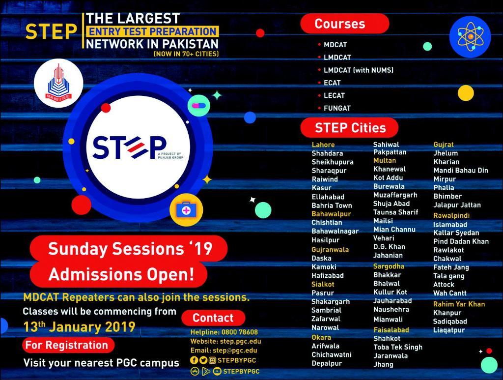 STEP Institute of Art Design and Management Lahore Admission 2019