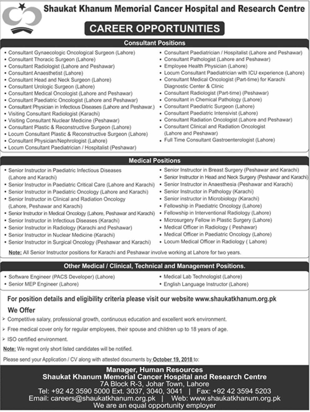 Shaukat Khanum Hospital Jobs Application Form 2018