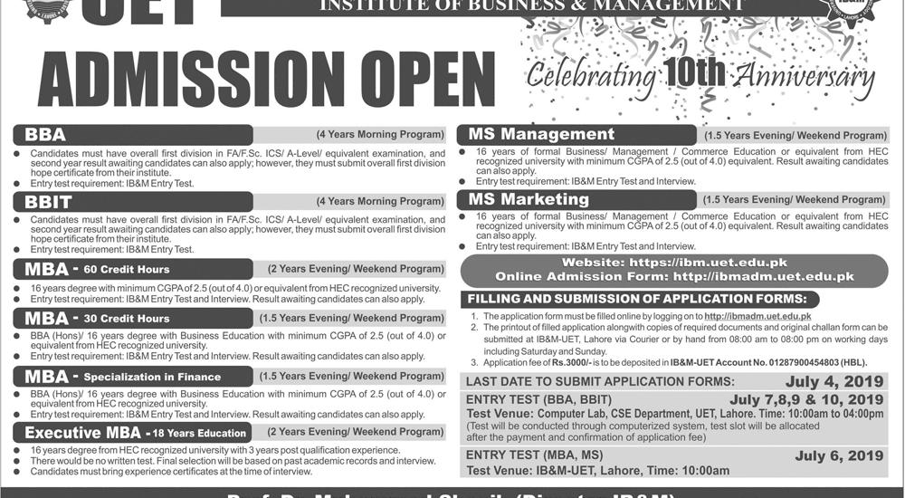 IB&M UET Lahore Admission Fall 2019 Form Online
