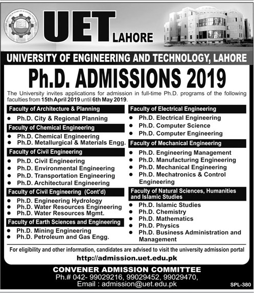 UET Lahore PhD Admissions 2019 Form Download, Merit List