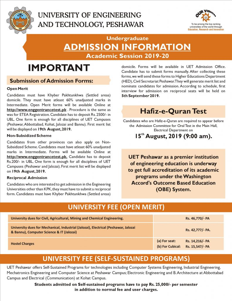 UET Peshawar Undergraduate Admission 2019